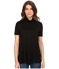Three Dots Janessa Short Sleeve Turtleneck Black Women's Clothing
