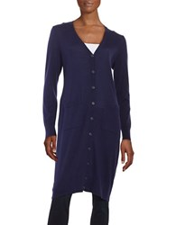 Lord And Taylor Merino Wool Long Cardigan Evening Blue