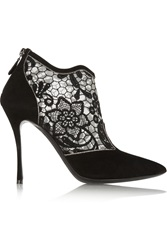 Nicholas Kirkwood Floral Embroidered Mesh Paneled Suede Ankle Boots