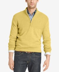 Izod Men's Dual Texture Quarter Zip Sweater Ochre