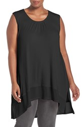 Melissa Mccarthy Seven7 Plus Size Women's Rib Knit High Low Tank Black
