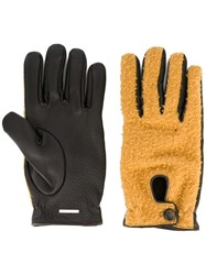 Lardini Panelled Gloves Yellow Orange