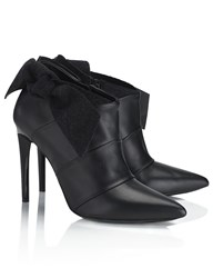 Proenza Schouler Black Leather Bow Ankle Boots