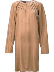 Rochas Flare Sleeve Ruched Dress Nude Neutrals