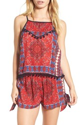 Band Of Gypsies Women's Scarf Print Pompom Trim Tank