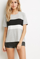 Forever 21 Heathered Colorblock Tee Grey Black