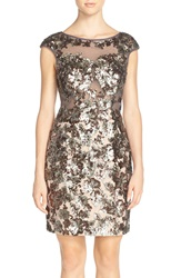 Jvn By Jovani Sequin Mesh Sheath Dress Charcoal Brown