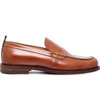 Gucci Tobias Leather Penny Loafers Tan