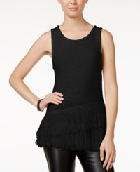 Bar Iii Sleeveless Fringe Sweater Only At Macy's Deep Black