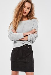 Missguided Black Faux Suede Quilted Pocket Stud Detail Mini Skirt