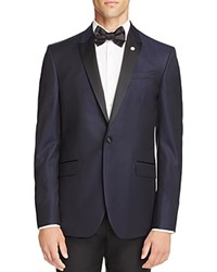 Ted Baker Jacquard Textured Slim Fit Tuxedo Jacket Navy