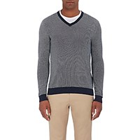 Michael Kors Men's Cotton Birdseye Stitched V Neck Sweater Navy