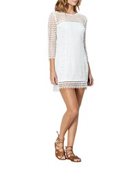 Cynthia Rowley Geo Lace Shift Dress White