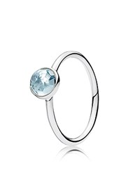 Pandora Design Ring Sterling Silver And Glass March Droplet