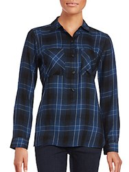 Saks Fifth Avenue Long Sleeve Plaid Button Down Shirt Blue