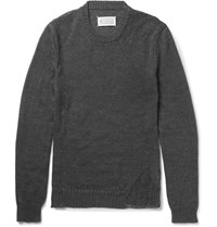 Maison Martin Margiela Margiea Sim Fit Distressed Mohair And Cotton Bend Sweater Anthracite