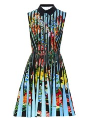 Mary Katrantzou Dew Techno Flowers Stripe Print Dress