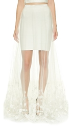 Theia Ava Embroidered Overskirt Ivory