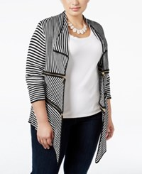Belldini Plus Size Zip Trim Striped Cardigan Black White