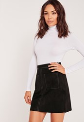 Missguided Faux Suede Stitch Pocket Detail A Line Skirt Brown