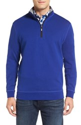 Bugatchi Men's Quarter Zip Knit Pullover Sweater Royal
