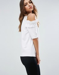 Asos Top With Ruffle Cold Shoulder In Ponte White