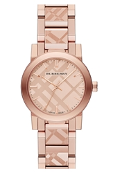 Burberry Check Stamped Bracelet Watch 26Mm Rose Gold