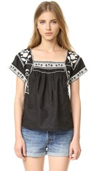 Madewell Embroidered Wildfield Top Classic Black