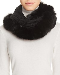 Surell Infinity Loop Scarf With Fox Fur Trim Black Black
