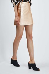 Metallic Leather Mini Skirt By Boutique Rose Gold