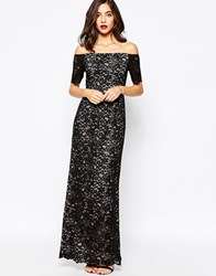 Warehouse Off The Shoulder Lace Maxi Dress Black