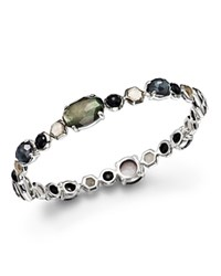 Ippolita Sterling Silver Rock Candy Mixed Prong And Bezel Bangle In Black Tie