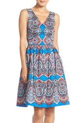 Women's Maggy London Print Sateen Fit And Flare Dress Blue Aqua