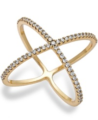Studio Silver Cubic Zirconia X Ring In 18K Gold Over Sterling Silver Yellow Gold
