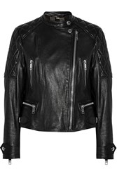 Burberry Brit Collarless Quilted Leather Biker Jacket Black