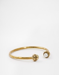 Mirabelle Thick Brass Cuff With Pearl Brasswhitepearl