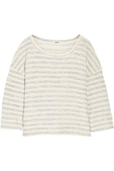 L'agence Striped Boucle Knit Cotton Blend Sweater