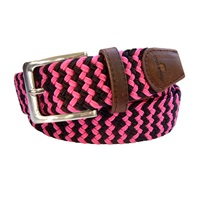 Tyler And Tyler Zig Zag Woven Belt Pink Black Pink Purple