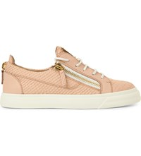 Giuseppe Zanotti Moreschi Leather Snake Embossed Trainers Pale Pink