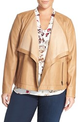 Sejour Plus Size Women's Drape Collar Leather Jacket Brown Saddle