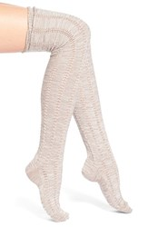Women's Free People 'Fray' Openwork Knit Over The Knee Socks Beige