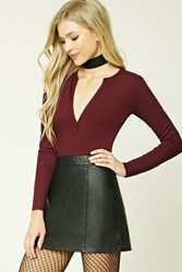 Forever 21 Ribbed Split Neck Top