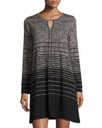 Max Studio Stripe Print Keyhole Knit Dress Blk Bone