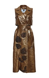 Blumarine Embroidered Sleeveless Metallic Trench Gold