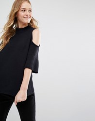 Monki Cold Shoulder Lightweight Jumper Black