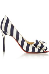 Christian Louboutin Just Soon 85 Striped Canvas Pumps Blue