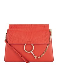 Chloe Medium Faye Python Shoulder Bag Female Poppy Red