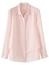Poetry Silk Tiered Shirt Pastel Pink