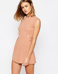 Daisy Street Playsuit With Side Belt Details Pink