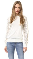Clu Pullover With Lace Sleeves Ivory